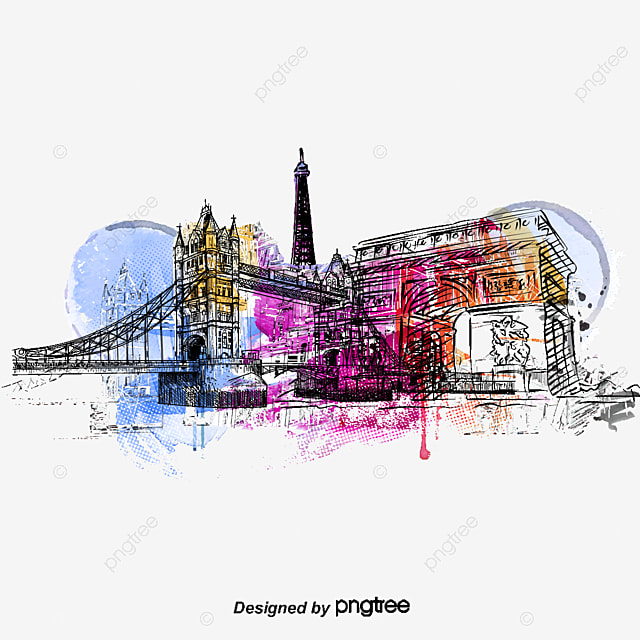 london city construction aquarelle d u00e9coration vecteur aquarelle png et vecteur pour