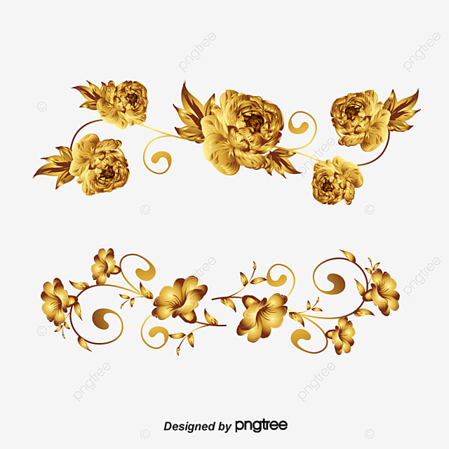 Vector Painted Golden Flower Decoration Hand PNG And