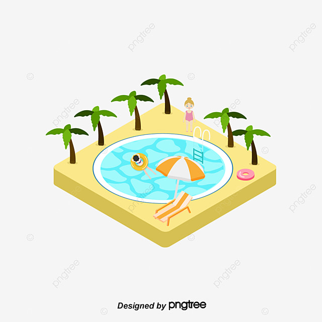 Pool Vector Cartoon Coconut Tree Swim Holiday PNG and Vector for