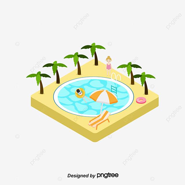 Piscina vector de dibujos animados cocotero nadar for Videos porno gratis piscina