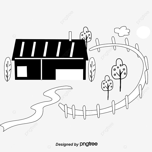 Blanco Y Negro Dibujado A Mano De Dibujos Animados De Campo Pintado