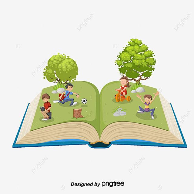 Cartoon Vector Arbol Con Libros Para Niños Los Niños De Dibujos