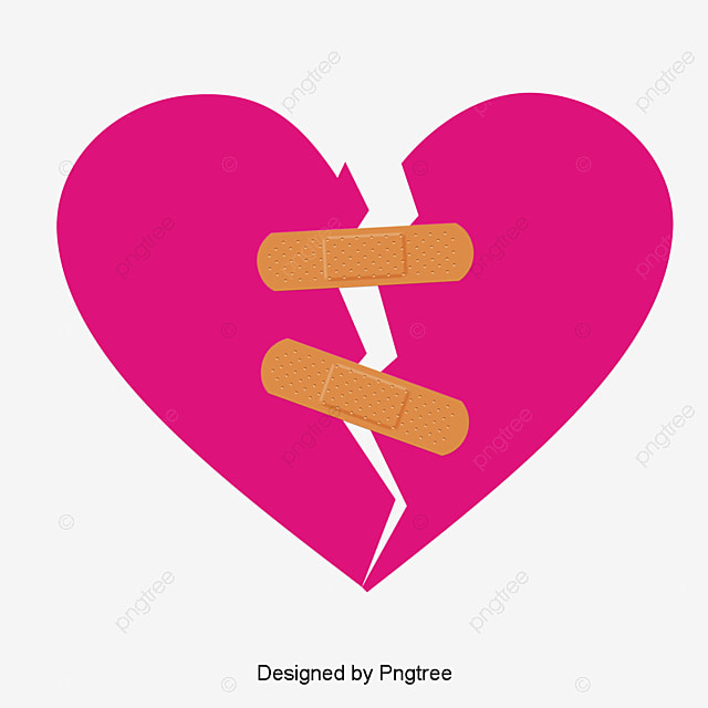 vector hand-painted with a band-aid sticking together broken heart, Vector,