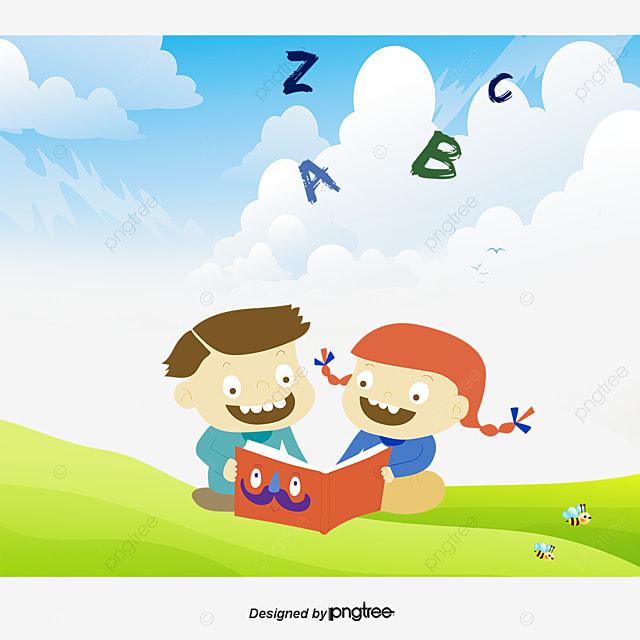Children Reading Cartoon Children Vector Cartoon Vector Reading