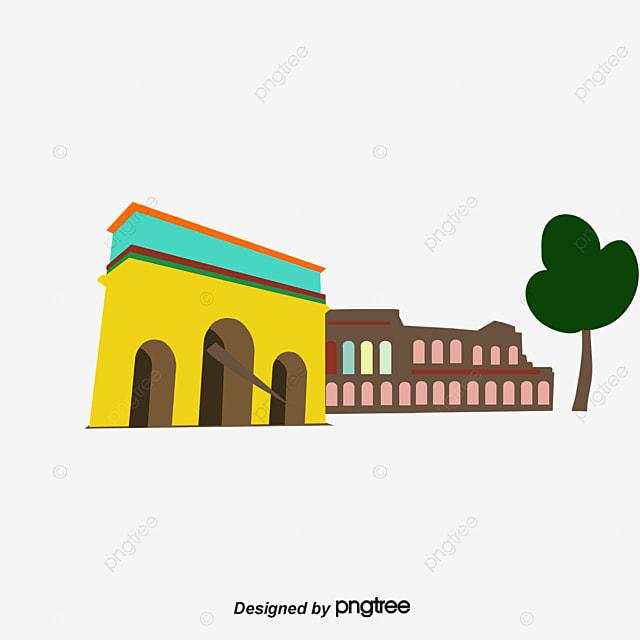 Ciudad romana de edificios famosos dibujos animados Cartoon