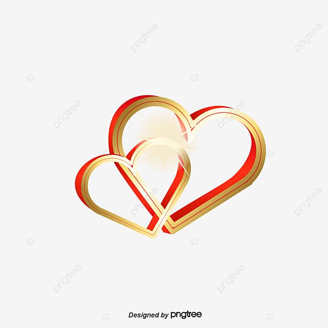 Vector Gold Double Heart Vector Golden Double Heart Png And