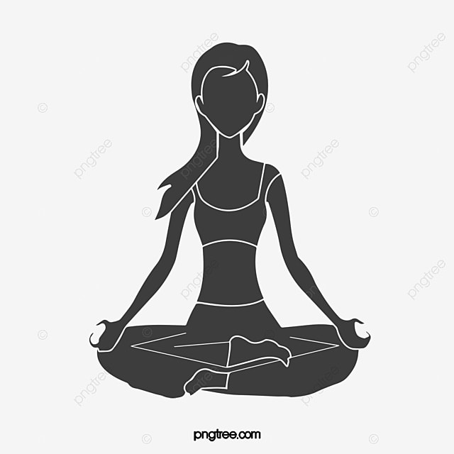 Black Yoga Meditation Vector Material PNG And