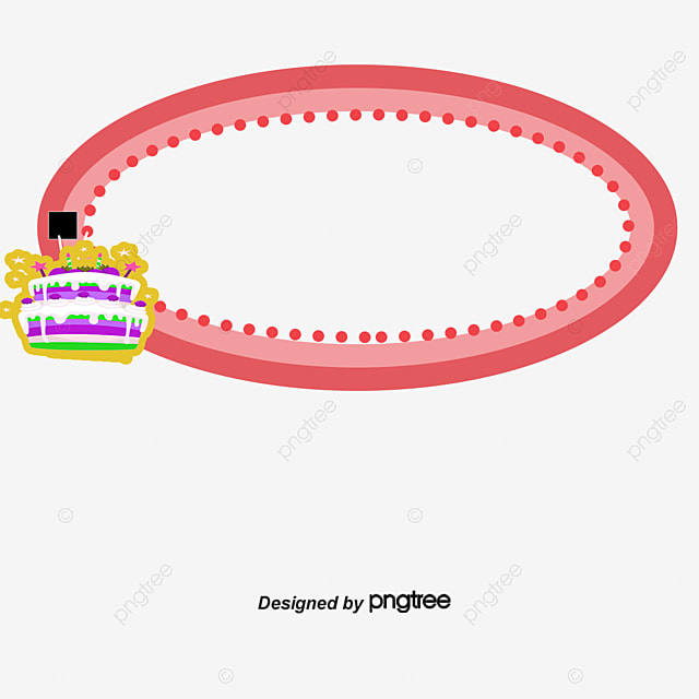 Birthday Cake Border, Red, Scarlet, Thick Frame PNG and PSD File for ...