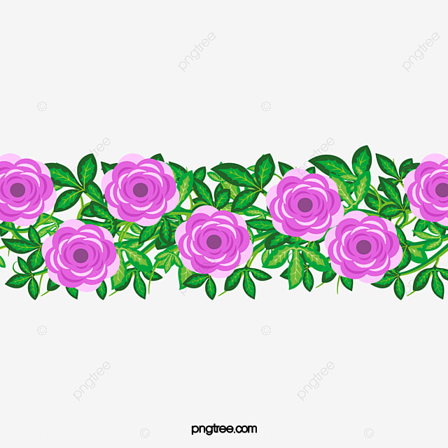 Pink flower border design PNG and PSD File for Free Download