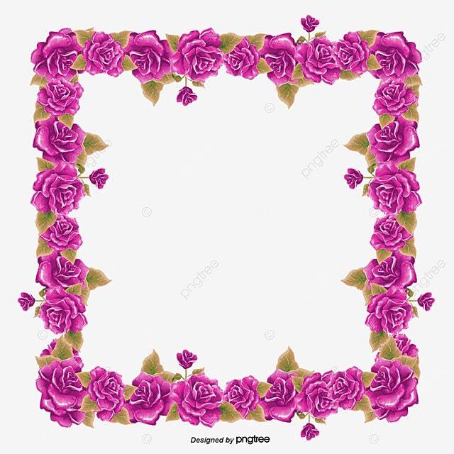 Blue Flowers Border, Creative Wedding, Invitations Decoration ...