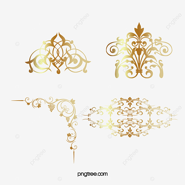 Gold Corner Pattern Golden Vine PNG And Vector