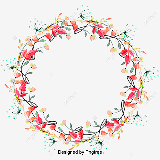 Red Flowers Garland Red Floral Wreath Png And Psd File
