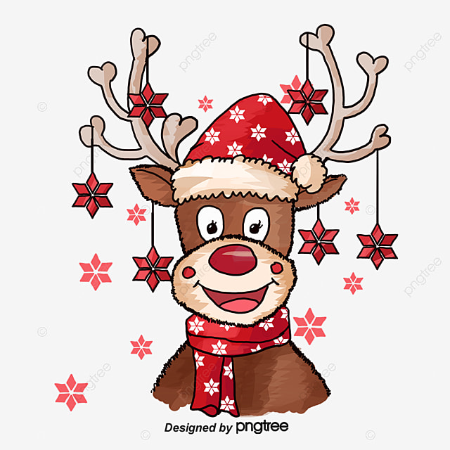 Christmas deer, Elk, Red Bell, Hand-painted Elk PNG Image