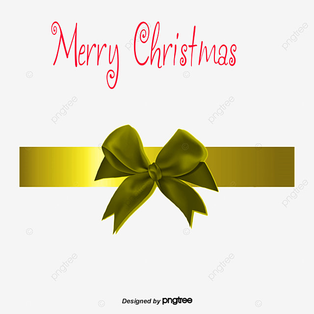 Gold Christmas Bow Material Transparent Elements Gift PNG And