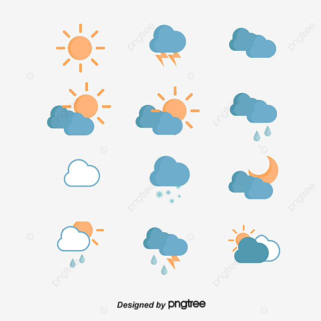 Flat Weather Symbols Sunny Sun Duo Rain Symbol Png And