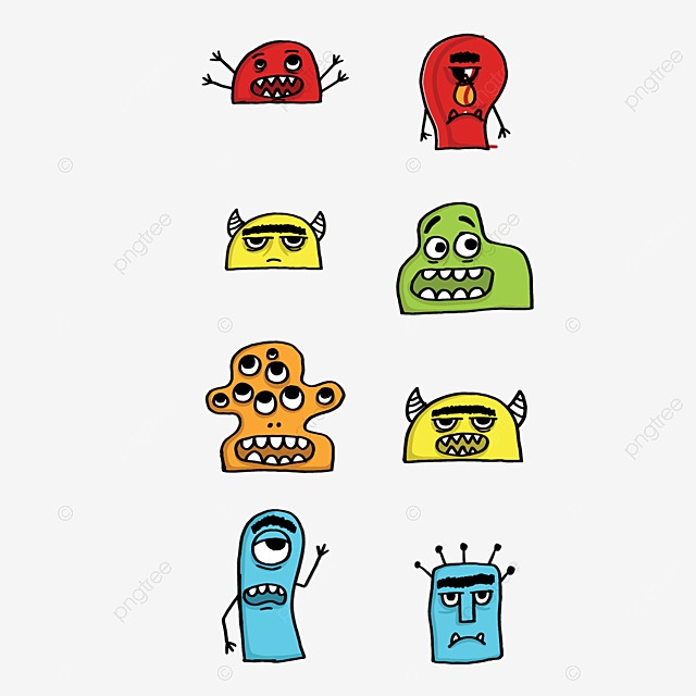 little monster collection monster bacteria and viruses vector