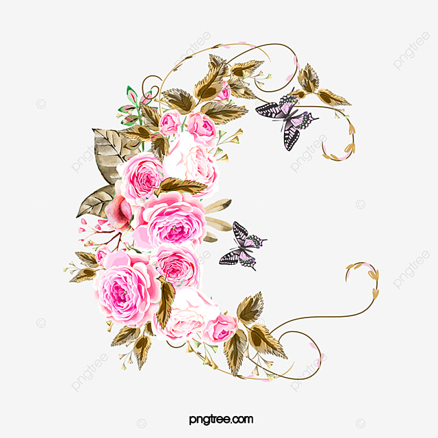 Butterfly Rose, Butterfly Clipart, Rose Clipart, Wedding