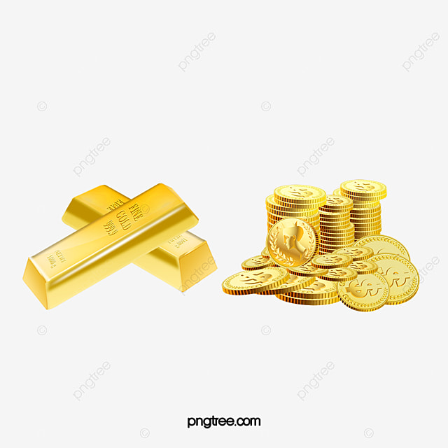 Bars And Coins Gold Bullion Two PNG Image Clipart