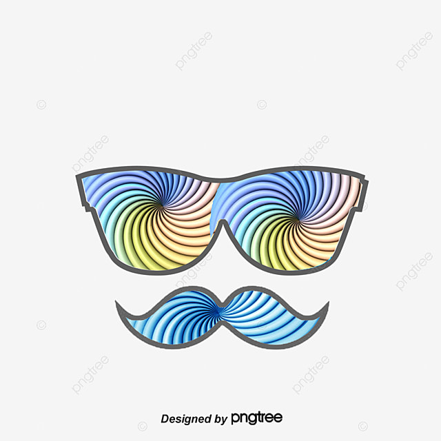 Creative Eye And Mustache Color Decoration Illustration Png And