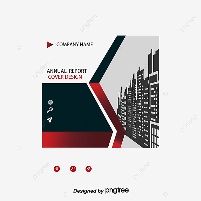 business report cover red rectangular frame red and black report