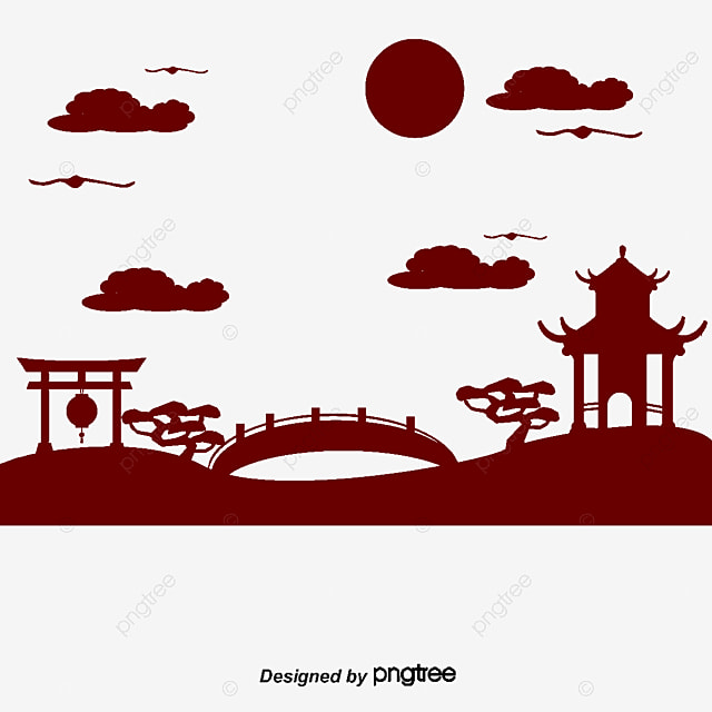 Japanese Garden Silhouette Patio Bridge Style PNG And Vector