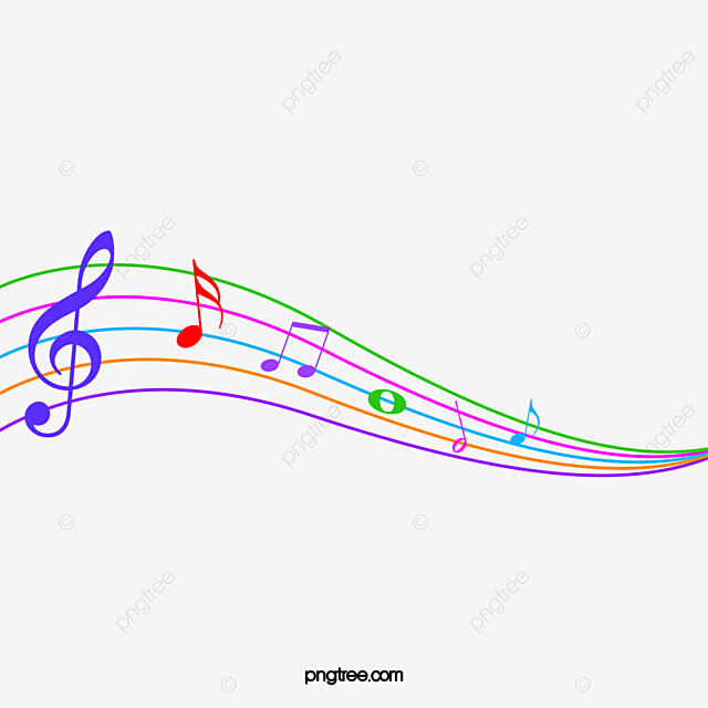colored cartoon musical note stave note color stave png image and