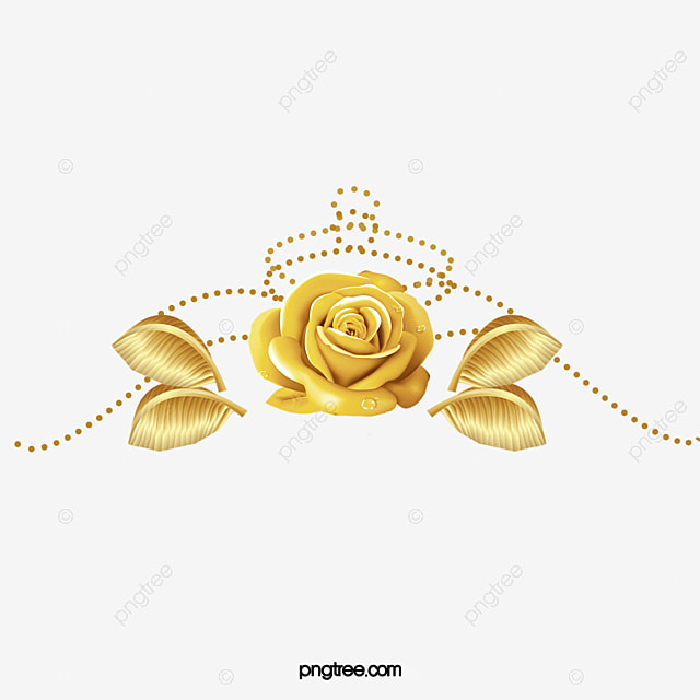 Golden Flowers Golden Flower Decoration Leaf Png Image