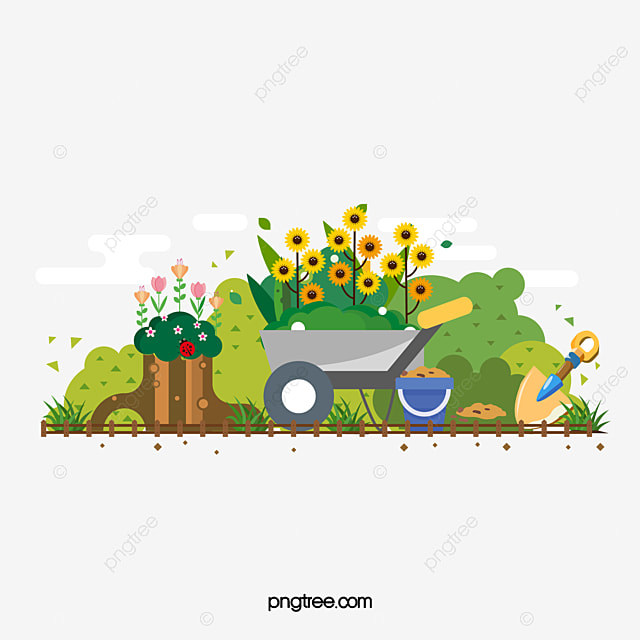 Cartoon Garden Tools Vector, Cartoon Vector, Garden Vector