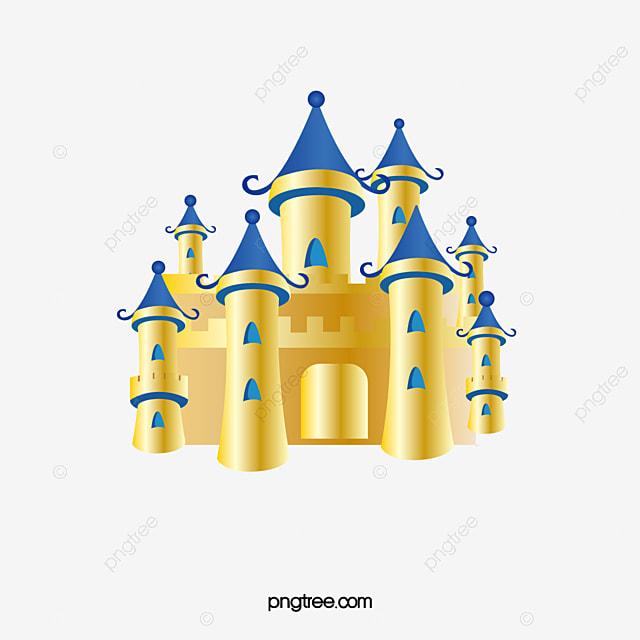 Golden Castle, Castle Clipart, Golden, Castle PNG