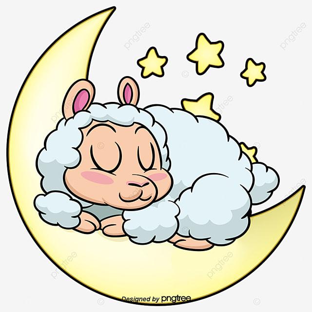 Sheep sleeping. On the moon star