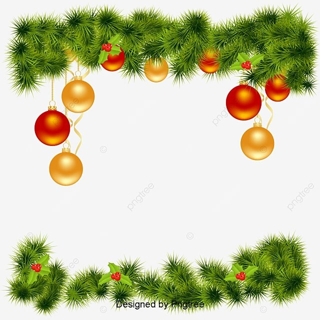 Vector Christmas Border, Pine, Flower, Christmas Elements ...