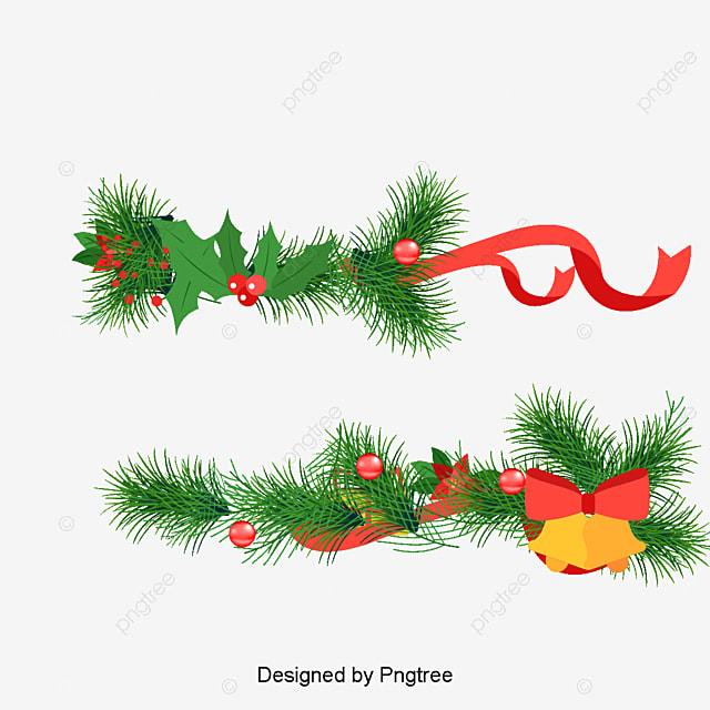 christmas bells and pine branches, Vector, Pine PNG and Vector