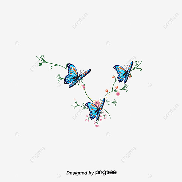 Cartoon Flowers Hand-painted Watercolor Blue Butterfly