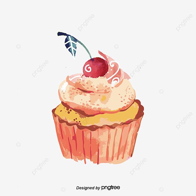 Pintado A Mano De Dibujos Animados Vector Cupcakes Caricatura Pastel
