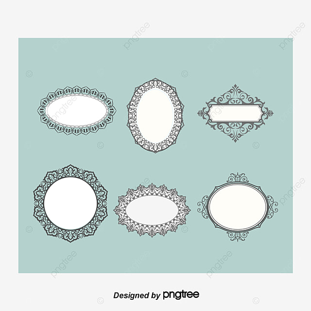 6 Vintage Frame Design Vector Material Black And White Retro Picture PNG
