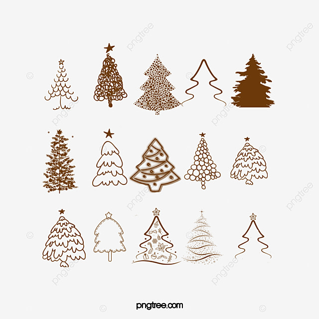 all kinds of vintage christmas tree vector material tree clipart christmas decoration png - Kinds Of Christmas Trees
