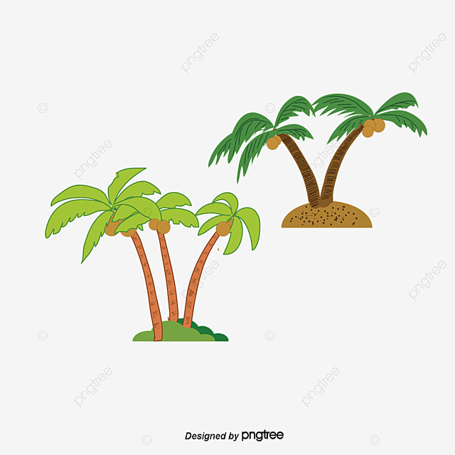 Kokosnuss Cartoon Palmen Handbemalte Die Bäume PNG und PSD Datei zum ...