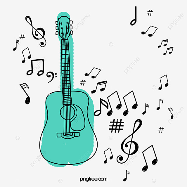 Cartoon Guitar Music Note Illustration Cartoon Clipart Guitar