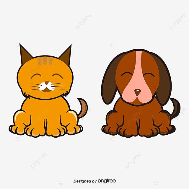 Pintado a mano de dibujos animados par lindos perros y - Dibujos de gatos pintados ...
