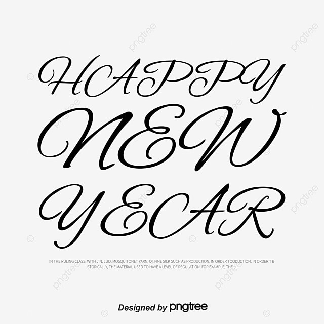 Romantic Squiggle English Happy New Year, Black, Wordart, English ...