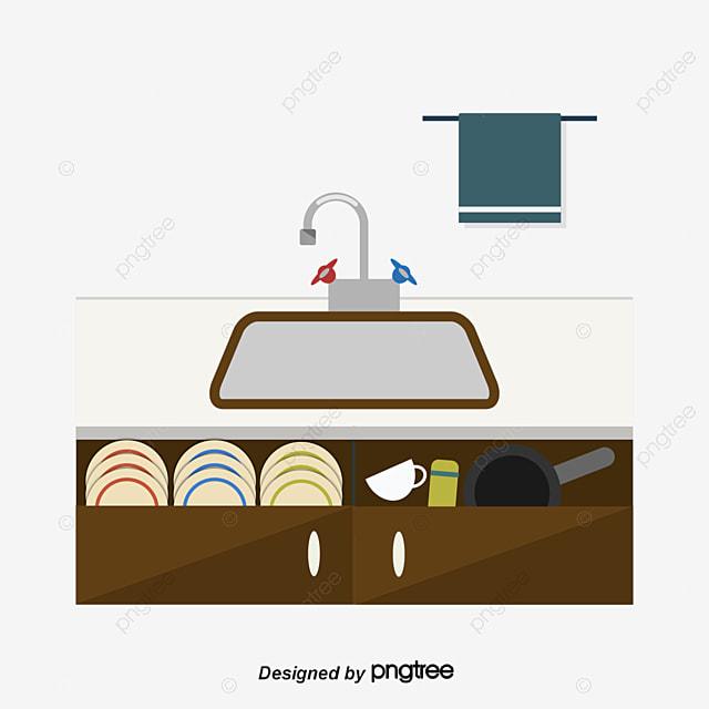 Cartoon Kitchen Sink ~ Cartoon kitchen sink scene vector
