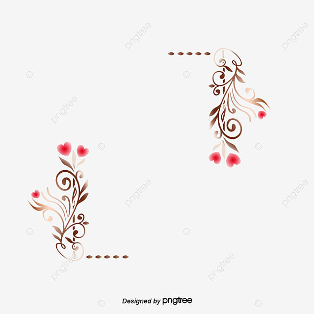 Wedding Hearts Border Frame Vector Material PNG And