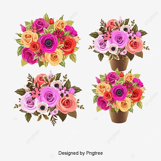 Ramo De Flores En Estilo Acuarela Vector Gratis Imagenes