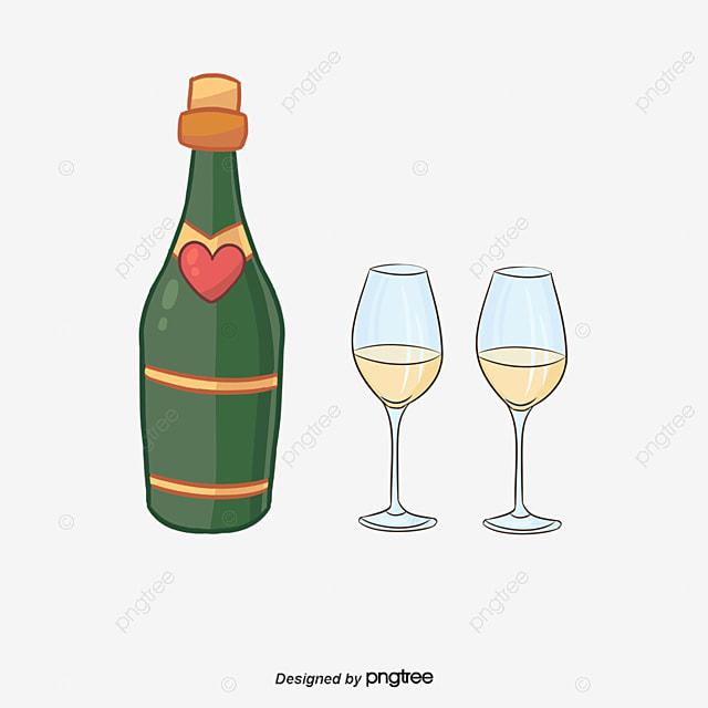 Cartoon copas de champagne pintado a mano de dibujos for Copas para champagne
