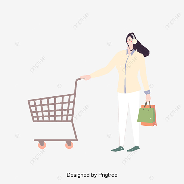 Cartoon Women Shopping Cartoon Female Three Png Image