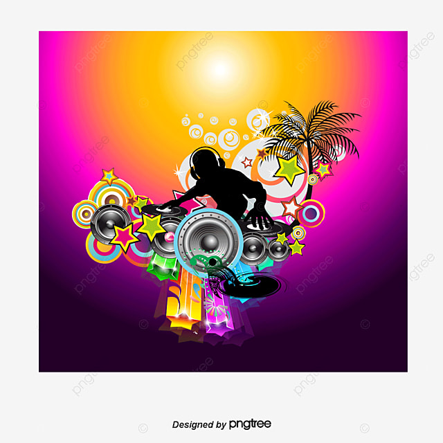 Color Moving Vector Audio Speakers Music Poster Dynamic