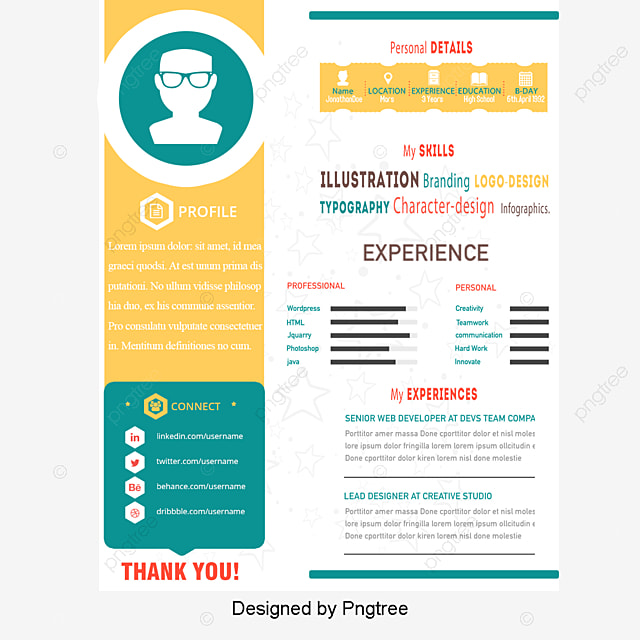 Creative Style Flat Resume Templates, Vector, Flat Icon, Resume PNG And PSD