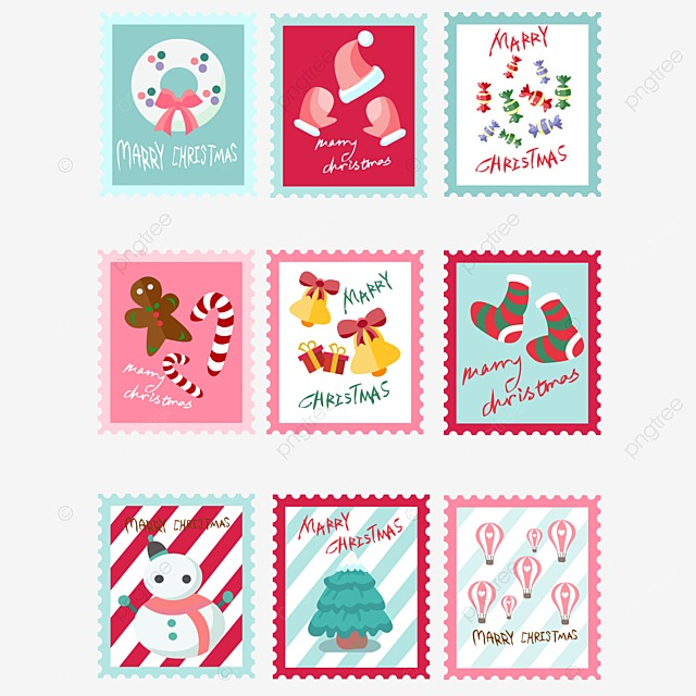 Vintage Christmas Stamp Stamp Clipart Seal Retro PNG Image And