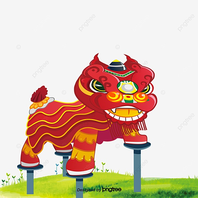The vector lion dance, lion vector, dance vector, chinese elements.