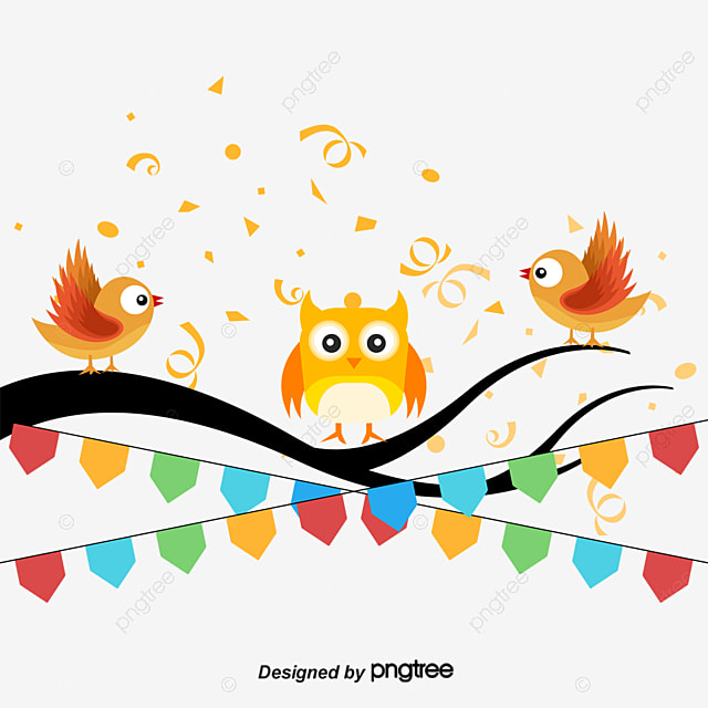 Pintado A Mano De Dibujos Animados Búho Color Pájaro En Rama